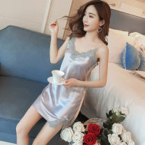 Nightdress Manfan Jingxin M L XL Sweet camisole pajamas Middle-skirt summer Solid color youth V-neck Polyester (polyester) lace More than 95% polyester fiber BA882111 Summer 2021 Other 100% Pure e-commerce (online only)