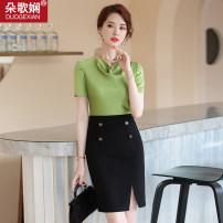 Dress Summer 2020 S M L XL 2XL 3XL Middle-skirt singleton  Short sleeve commute other High waist other zipper One pace skirt other Others 25-29 years old Type H Duo Gexian Ol style Splicing More than 95% other polyester fiber Polyester 97% polyurethane elastic fiber (spandex) 3%