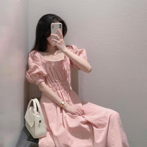 Dress Summer 2021 Pink dress S M L XL longuette singleton  Short sleeve Sweet square neck High waist Solid color Socket A-line skirt puff sleeve Others 18-24 years old Type A JEPFEIXIA More than 95% brocade other Other 100% Mori Pure e-commerce (online only)
