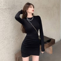 Women's large Winter 2020 Black grey S M L Dress singleton  commute Long sleeves Solid color Korean version Crew neck routine gYM5 Mugery / muger 25-29 years old Short skirt Other 100.00%