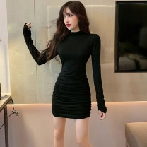 Women's large Winter 2020 S M L Dress singleton  commute Long sleeves Solid color Korean version Mugery / muger 18-24 years old Other 100.00%
