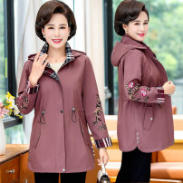 Middle aged and old women's wear Spring 2020 XL recommendation 90-105 kg XXL recommendation 105-120 kg XXL recommendation 120-135 kg 4XL recommendation 135-150 kg 5XL recommendation 150-165 kg fashion Jacket / jacket easy singleton  Solid color 40-49 years old Cardigan thick Hood Medium length zipper