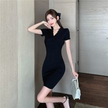 Dress Spring 2021 black S M L Short skirt singleton  Short sleeve commute V-neck High waist Solid color Socket One pace skirt routine camisole 18-24 years old Type H Jane golly Retro Lace JGL-FH9693 More than 95% other Other 100% Pure e-commerce (online only)