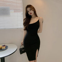 Dress Summer 2021 black S M L Middle-skirt singleton  Sleeveless commute Slant collar High waist Solid color A-line skirt camisole 18-24 years old Type A Jane golly Retro JGL-AM1280 More than 95% other Other 100% Pure e-commerce (online only)