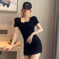 Dress Summer 2021 black Average size Short skirt singleton  Short sleeve commute square neck High waist Solid color A-line skirt routine Others 18-24 years old Type A Jane golly Retro JGL-TY77636 More than 95% other Other 100% Pure e-commerce (online only)