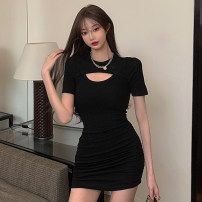Dress Summer 2021 Black blue Average size Short skirt singleton  Short sleeve commute Crew neck High waist Solid color A-line skirt routine Others 18-24 years old Type A Jane golly Retro JGL-LU6105 More than 95% other Other 100% Pure e-commerce (online only)