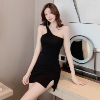 Dress Summer 2021 Black grey S M L Short skirt singleton  Sleeveless commute High waist Solid color Socket One pace skirt 18-24 years old Type A Jane golly Retro JGL-MI3918 More than 95% other Other 100% Pure e-commerce (online only)