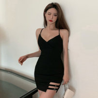 Dress Summer 2021 Black and white S M L Short skirt singleton  Sleeveless commute V-neck High waist Solid color A-line skirt camisole 18-24 years old Type A Jane golly Retro JGL-MG8188 More than 95% other Other 100% Pure e-commerce (online only)