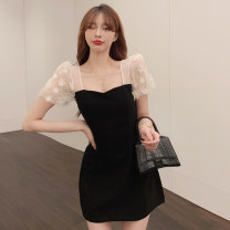 Dress Summer 2021 Black and white M L Short skirt Fake two pieces Short sleeve commute other High waist Solid color A-line skirt Others 18-24 years old Type A Jane golly Retro JGL-AQ28506 More than 95% other Other 100% Pure e-commerce (online only)