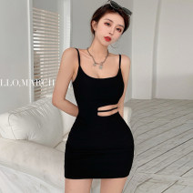 Dress Summer 2021 Black and white S M Short skirt singleton  Sleeveless commute Crew neck High waist Solid color A-line skirt camisole 18-24 years old Type A Jane golly Retro JGL-MD3225 More than 95% other Other 100% Pure e-commerce (online only)