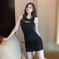 Dress Summer 2021 Black and white S M L Short skirt singleton  Sleeveless commute Crew neck High waist Solid color A-line skirt Others 18-24 years old Type A Jane golly Korean version JGL-BL5825 More than 95% other Other 100% Pure e-commerce (online only)