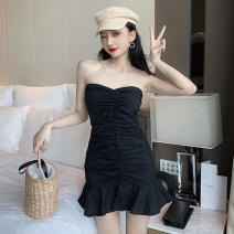 Dress Summer 2021 Black and white S M Short skirt singleton  Sleeveless commute other High waist Solid color other A-line skirt other Breast wrapping 18-24 years old Type A Jane golly Retro Ruffle fold JGL-MX6742 More than 95% other Other 100% Pure e-commerce (online only)