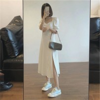 Dress Spring 2021 White black S M L Middle-skirt singleton  Short sleeve commute square neck middle-waisted Solid color Socket A-line skirt routine Others 18-24 years old Type A Ao Yiqian Korean version 8214# More than 95% other other Other 100% Pure e-commerce (online only)