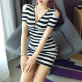 Dress Autumn 2020 Black and white stripes S,M,L Short skirt singleton  Short sleeve V-neck High waist stripe Socket One pace skirt routine Cut out, open back, zipper