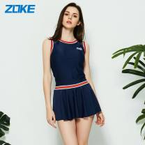one piece  Zoke / zhouke M,L,XL,2XL,3XL 120501523 deep blue, fashionable Swimsuit (this item) Skirt one piece With chest pad without steel support female Sleeveless Casual swimsuit