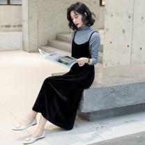 Dress Spring 2021 Grey (one piece sling skirt), black (one piece sling skirt), black suit (with grey inside), grey suit (with inside), black suit (with black inside) M 85-100kg, l 101-120kg, XL 121-135kg, 2XL 136-145kg, 3XL 146-165kg Mid length dress singleton  Sleeveless other Coonmei / Kuang Mei