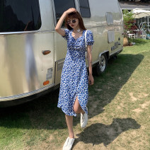 Dress Summer 2021 S M L XL Mid length dress singleton  Short sleeve commute V-neck High waist Decor Socket routine Others 18-24 years old Linglian Korean version More than 95% Chiffon polyester fiber Polyester 100% Pure e-commerce (online only)