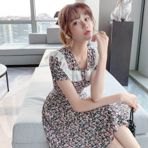 Dress Summer 2021 black S M L XL Mid length dress singleton  Short sleeve Sweet Doll Collar High waist Broken flowers Socket A-line skirt routine 25-29 years old Type A PA yuan Patchwork printing p5043 81% (inclusive) - 90% (inclusive) Chiffon other New polyester 90% viscose 10%