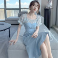 Women's large Summer 2020 blue S M L XL Dress singleton  Sweet Self cultivation moderate Socket Short sleeve Solid color One word collar Medium length polyester fiber puff sleeve PA yuan 18-24 years old zipper longuette New polyester 90% viscose 10% Princess Dress