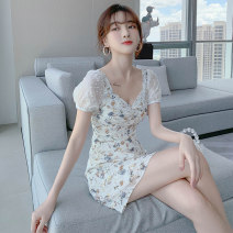 Women's large Summer 2020 Decor S M L XL Dress singleton  Sweet Self cultivation moderate Socket Short sleeve Decor V-neck Medium length polyester fiber puff sleeve PY-9066 PA yuan 18-24 years old Medium length New polyester 90% viscose 10% Princess Dress