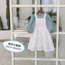 Dress Light blue white female The fish are swimming 80cm 90cm 100cm 110cm 120cm 130cm Cotton 90% other 10% spring and autumn Korean version Skirt / vest Solid color cotton A-line skirt Class B Spring 2021 3 years old, 4 years old, 5 years old, 6 years old, 7 years old and 8 years old Chinese Mainland