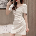 Dress Summer 2021 White black XS S M L XL Middle-skirt singleton  Short sleeve commute square neck High waist Solid color Socket A-line skirt routine Others 25-29 years old Type A AMAQ lady A000315Q-DY More than 95% other Other 100% Pure e-commerce (online only)
