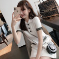 Dress Summer 2021 White black XS S M L Mid length dress singleton  Short sleeve commute Polo collar Loose waist Solid color Socket A-line skirt routine Others 25-29 years old Type A AMAQ Korean version Button A000309Q-DY More than 95% other Other 100% Pure e-commerce (online only)