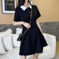 Dress Summer 2021 black S M L XL Middle-skirt singleton  Short sleeve commute Polo collar High waist Solid color Socket A-line skirt routine Others 25-29 years old Type A AMAQ Korean version Button A000306Q - DY More than 95% other Other 100% Pure e-commerce (online only)