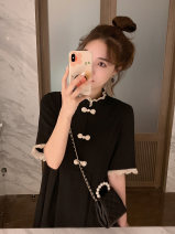 shirt black S M L XL Summer 2020 other 96% and above Short sleeve commute Medium length stand collar Socket routine Solid color 18-24 years old Straight cylinder Kono Korean version YG1921409151840 Patchwork lace Other 100% Pure e-commerce (online only)
