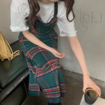 T-shirt Plaid Dress with neck S M L Spring 2021 Sleeveless Crew neck Medium length routine commute polyester fiber 96% and above 18-24 years old lattice Shenmu (clothing) Polyester 100%