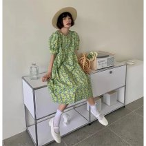 Dress Summer 2021 Green dress S M L longuette singleton  Short sleeve commute Crew neck High waist Broken flowers Socket A-line skirt routine 18-24 years old Type A Shenmu (clothing) printing More than 95% polyester fiber Polyester 100% Pure e-commerce (online only)