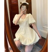 Dress Summer 2021 Dress S M L Middle-skirt singleton  Short sleeve commute Crew neck High waist Solid color Socket A-line skirt puff sleeve 18-24 years old Type A Shenmu (clothing) Splicing More than 95% other polyester fiber Polyester 100% Pure e-commerce (online only)