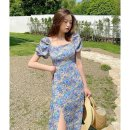 Dress Summer 2021 Floral Dress S M L longuette singleton  Short sleeve commute square neck High waist Decor Socket A-line skirt routine 18-24 years old Type A Shenmu (clothing) printing More than 95% other polyester fiber Polyester 100% Pure e-commerce (online only)