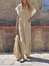 Dress Autumn 2020 grey L,S,4XL,XL,5XL,M,XXXL,XXL longuette singleton  Short sleeve V-neck Loose waist Solid color Socket Irregular skirt LIREN