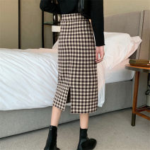 Women's large Autumn 2020 Black and white check dark brown light brown XS S M L skirt singleton  commute thick Korean version Medium length other Lilen Youdu 71% (inclusive) - 80% (inclusive) Other 100%