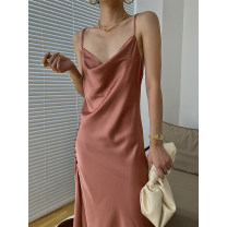 Dress Summer 2021 Black, pink S,M,L Mid length dress singleton  Sleeveless commute Dangling collar High waist Solid color Socket other other camisole 25-29 years old Type H Korean version Open back, stitching, buttons 91% (inclusive) - 95% (inclusive) Silk and satin other
