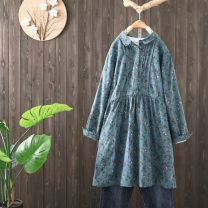 Dress Autumn 2020 Grey blue Average size Mid length dress singleton  Long sleeves commute middle-waisted Broken flowers Socket A-line skirt routine Others 25-29 years old Type A be unexpected Pleated printing WY1224-2009 More than 95% other other Other 100% Pure e-commerce (online only)