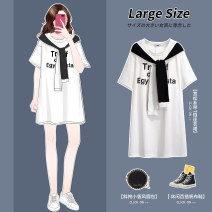 Women's large Summer 2020 60933 white 60933 black 130 ~ 160 Jin, 2XL 160 ~ 185 Jin, 3XL 205 ~ 230 Jin, 5XL 230 ~ 300 Jin, 6xl Dress singleton  commute easy moderate Socket Short sleeve Korean version Crew neck printing and dyeing routine G60933 Xiangyun (clothing) 25-29 years old Medium length other