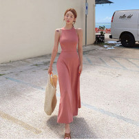 Dress Autumn 2020 Cut men's powder Average size / free longuette singleton  Sleeveless commute Crew neck High waist Solid color Socket Big swing other Hanging neck style 25-29 years old Type A Zilihua Korean version 51% (inclusive) - 70% (inclusive) other polyester fiber