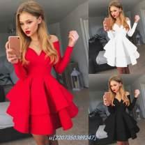 Dress Winter 2020 White, black, red, cash XL,L,S,M,XXL Middle-skirt singleton  Long sleeves Sweet V-neck middle-waisted Solid color zipper Ruffle Skirt