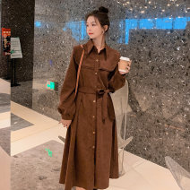 Dress Spring 2021 Elegant black, jujube red, new brown S,M,L,XL Mid length dress singleton  Long sleeves commute Polo collar High waist Solid color Single breasted Big swing routine Others 18-24 years old Type A Other / other Korean version Pocket, lace up, button ZB48588053002 efYdK More than 95%