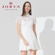 Dress Spring 2020 Black, white S,M,L Short skirt singleton  Short sleeve stand collar High waist zipper other routine Others 25-29 years old Type X JORYA weekend Hollowing out EJW9BH02 other other