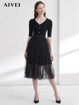 skirt Spring 2021 S,M,L Black, khaki longuette Sweet High waist Pleated skirt 25-29 years old M0160058 AIVEI nylon Splicing Ruili
