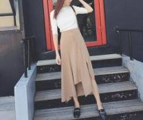 skirt Spring 2017 40. 2XL, m, l, s, waist is designed with rubber band fixed-point stitching Khaki (premium), black (premium) Versatile High waist Irregular Solid color Type A 18-24 years old 30% and below other other