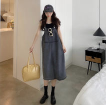 Dress Summer 2021 Grey blue S M L Miniskirt 18-24 years old Love's window More than 95% polyester fiber Polyester 100%