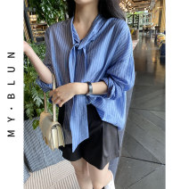 shirt Blue Khaki S M L XL Spring 2021 other 96% and above Long sleeves commute Regular V-neck Socket routine stripe 30-34 years old MY-BLUN Korean version BU202v190149p Lace up Other 100% Pure e-commerce (online only)