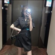Dress Summer 2021 Grey white black S M L Middle-skirt singleton  Long sleeves commute V-neck High waist Socket A-line skirt routine 18-24 years old Type A Tikachu Korean version 9119# More than 95% other Other 100%