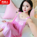 Nightdress NGGGN sexy camisole pajamas Middle-skirt summer Solid color youth Iced silk Hollowing out More than 95% polyester fiber 200g and below