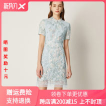 Dress Summer 2020 blue S,M,L,XL,2XL Middle-skirt singleton  Short sleeve commute stand collar High waist Solid color Socket other routine Others Lance from 25 lady Splicing More than 95% other