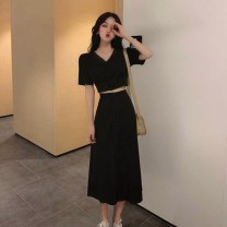 Women's large Summer 2021 Black two piece set, powder two piece set S M L XL Dress Two piece set commute Socket Short sleeve Solid color lady V-neck routine Cheng Biao 18-24 years old Button longuette Other 100% Same model in shopping mall (sold online and offline)